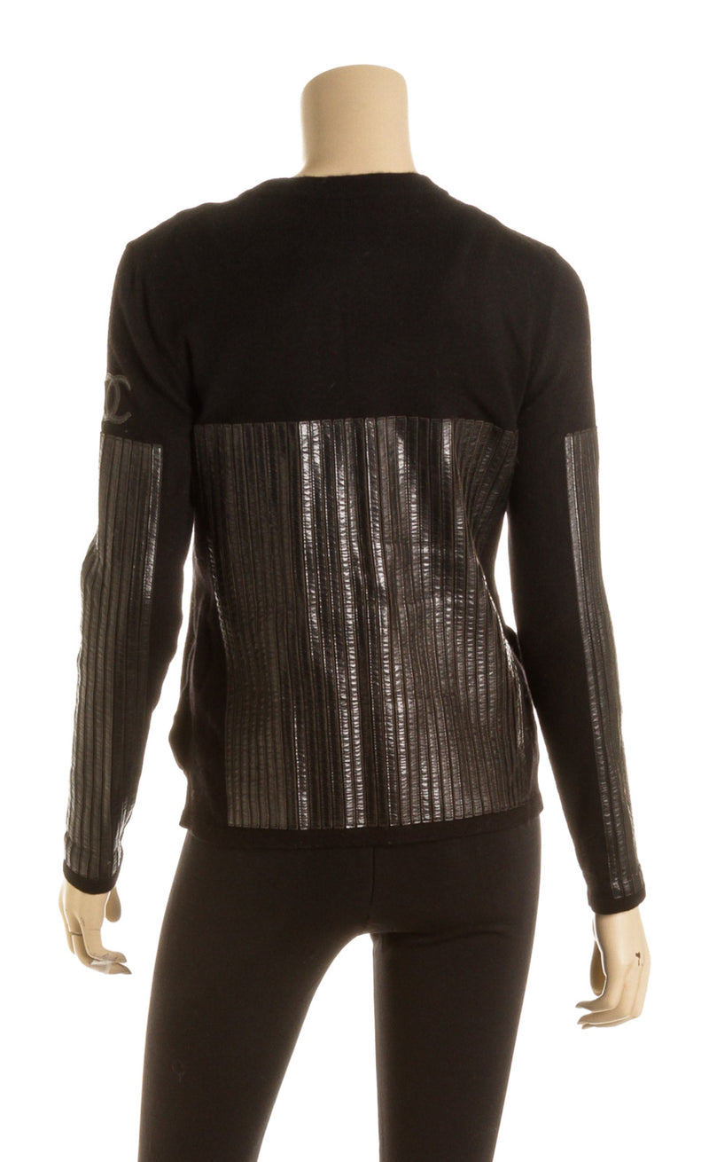 Chanel Black Zip up Sweater with Leather Detailing ( Size 36)
