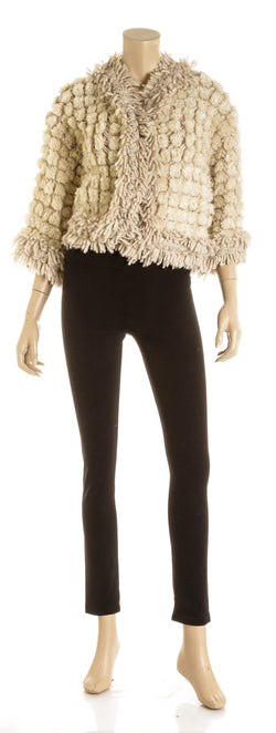 Chanel Cream Alpaca and Mohair Pom Pom Cardigan (Size 40)