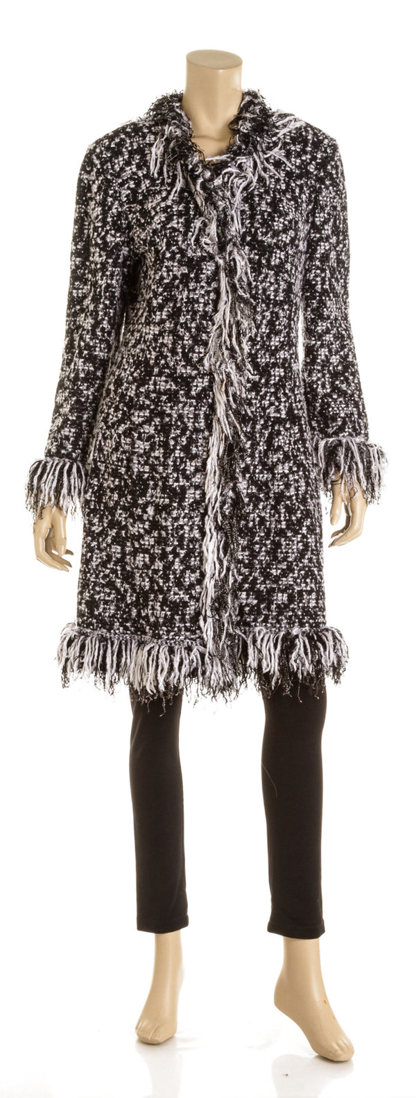 St John Black & White Boucle Wool Fringe Coat ( Size 14)