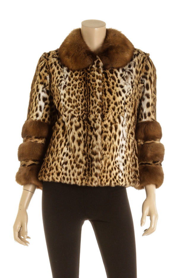 The Fur Salon Leopard Print Mink Fur Jacket ( Size S )