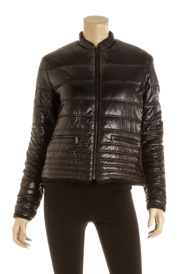 Chanel Black & Blue Reversible Quilted Nylon Jacket (Size S )
