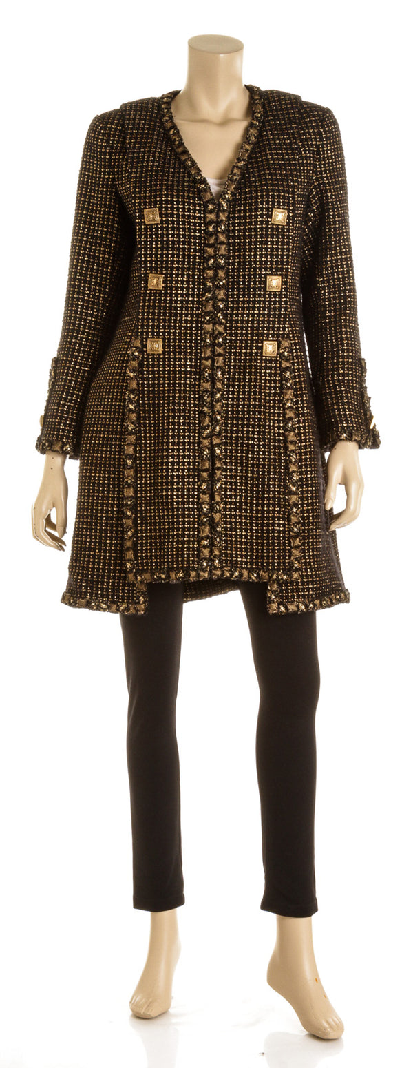 Chanel Black and Gold Metallic Tweed Coat ( Size 42)