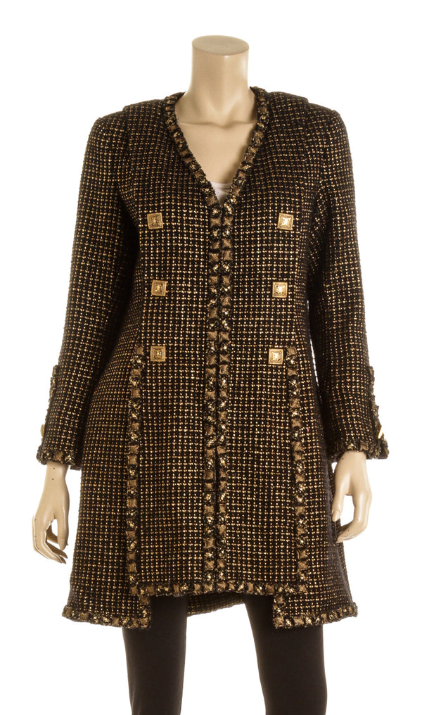Chanel Black & Gold Tweed Coat ( Size 42)