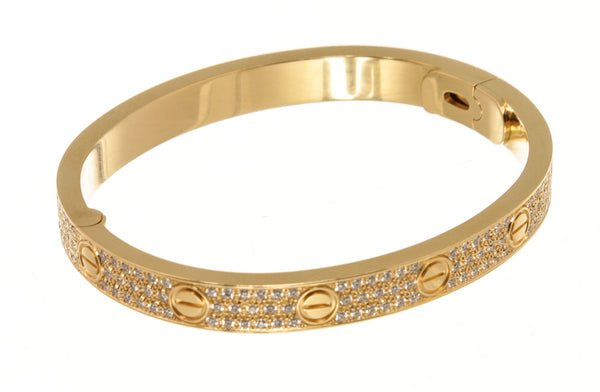 Cartier 18k Yellow Gold Pave Diamond Love Bracelet ( Size 17 )