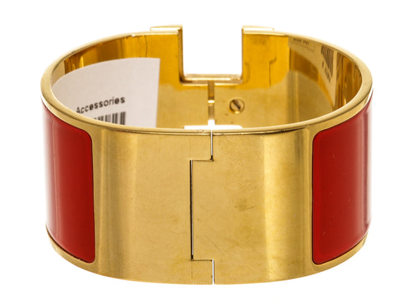 Hermes Wide Red Gold Plate Clic Clac Bracelet