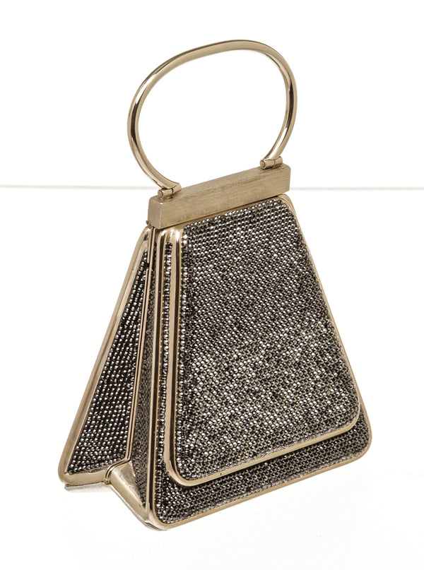 Judith Leiber Silver Crystal Triangular Evening Bag