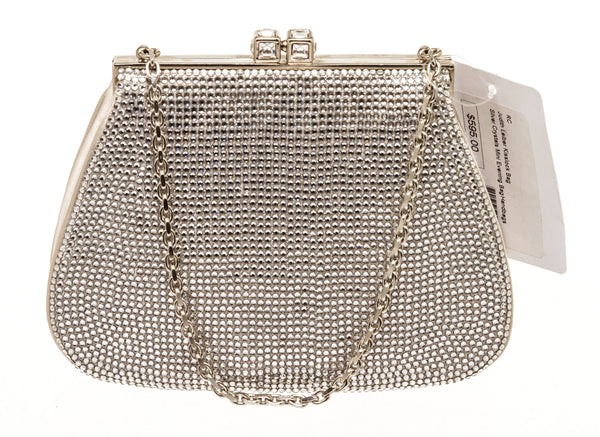 Judith Lieber Silver Crystal Kisslock Evening Bag