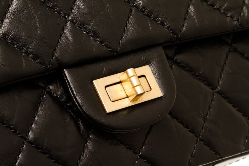 Chanel Black Aged Calfskin Quilted 2.55 Reissue 226 Flap
