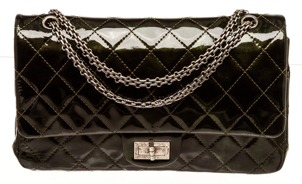 Chanel Green Patent Leather 2.55 Jumbo Reissue