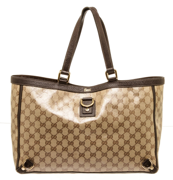 Gucci Brown Abbey Crystal Monogram Gold Large Tote