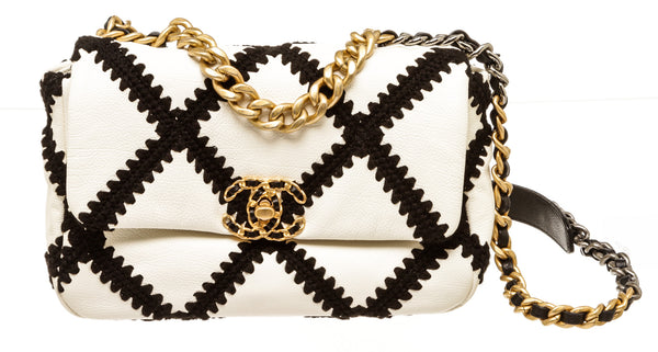 Chanel 19 Black & White Lambskin Leather Crochet Flap