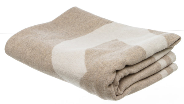 Chanel Beige and Cream Wool and Cashmere Throw Blanket