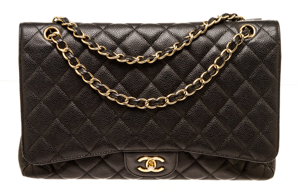 Chanel Classic Black Caviar Leather Double Flap Gold Hardware