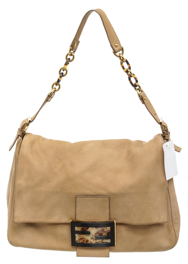 Fendi Tan Nubuck Leather Baguette Handbag