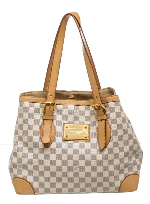 Louis Vuitton Cream and Blue Damier Azur Hampstead MM Bag
