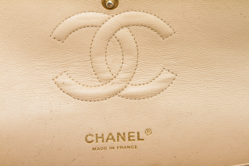 Chanel Beige Caviar Leather Double Flap Medium Classic Handbag GHW