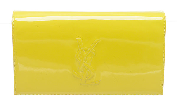 Yves Saint Laurent Yellow Belle De Jour Patent Leather Large Clutch Handbag