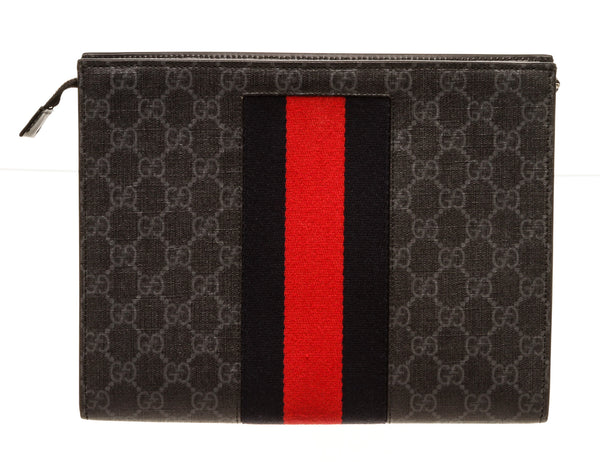 Gucci Supreme Canvas Black Grey Navy Stripe Pouch