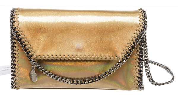 Stella McCartney Gold Holograpic Crackle Falabella Mini Crossbody Handbag