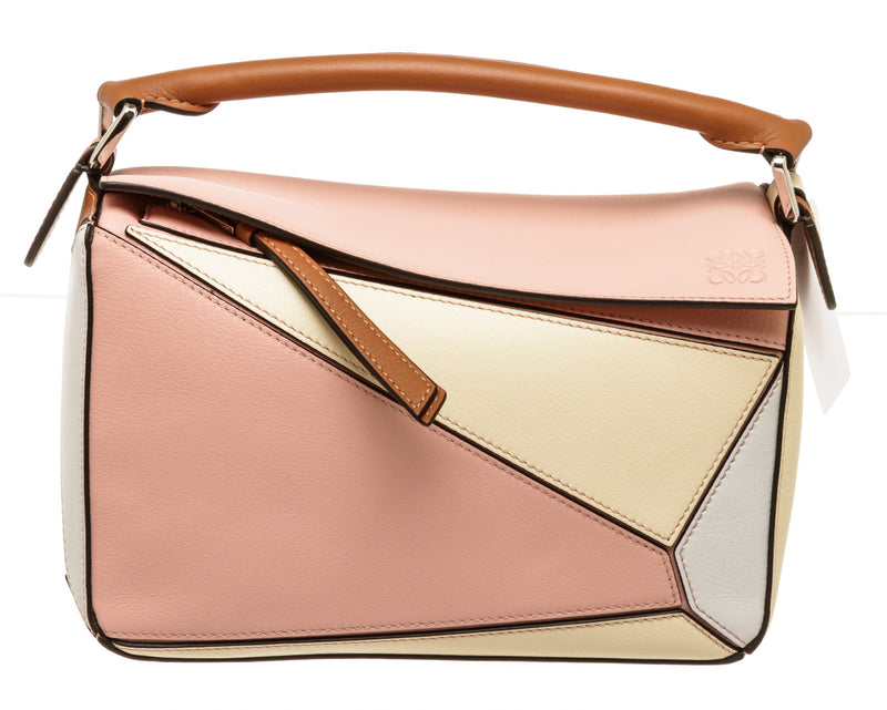 Loewe Small Puzzle Paula Pink Tan Multicolor Handbag