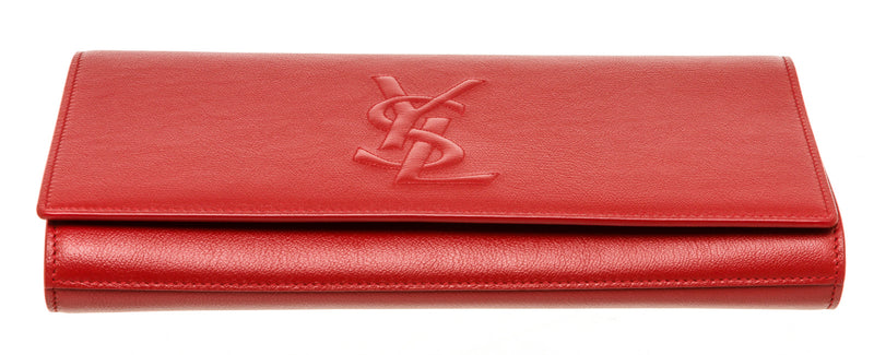 YSL Red Leather Saint Laurent Belle Du Jour Clutch