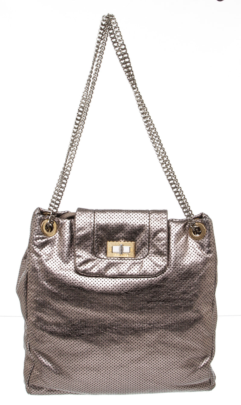 Chanel Silver Metallic Perforated Drill Reissue Handbag GHW