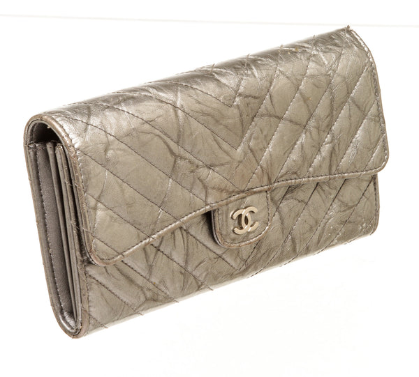 Chanel Silver Metallic Chevron Leather Bi Fold Wallet
