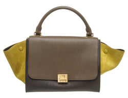 Celine Olive Green Taupe Tricolor Leather and Suede Small Trapeze Bag