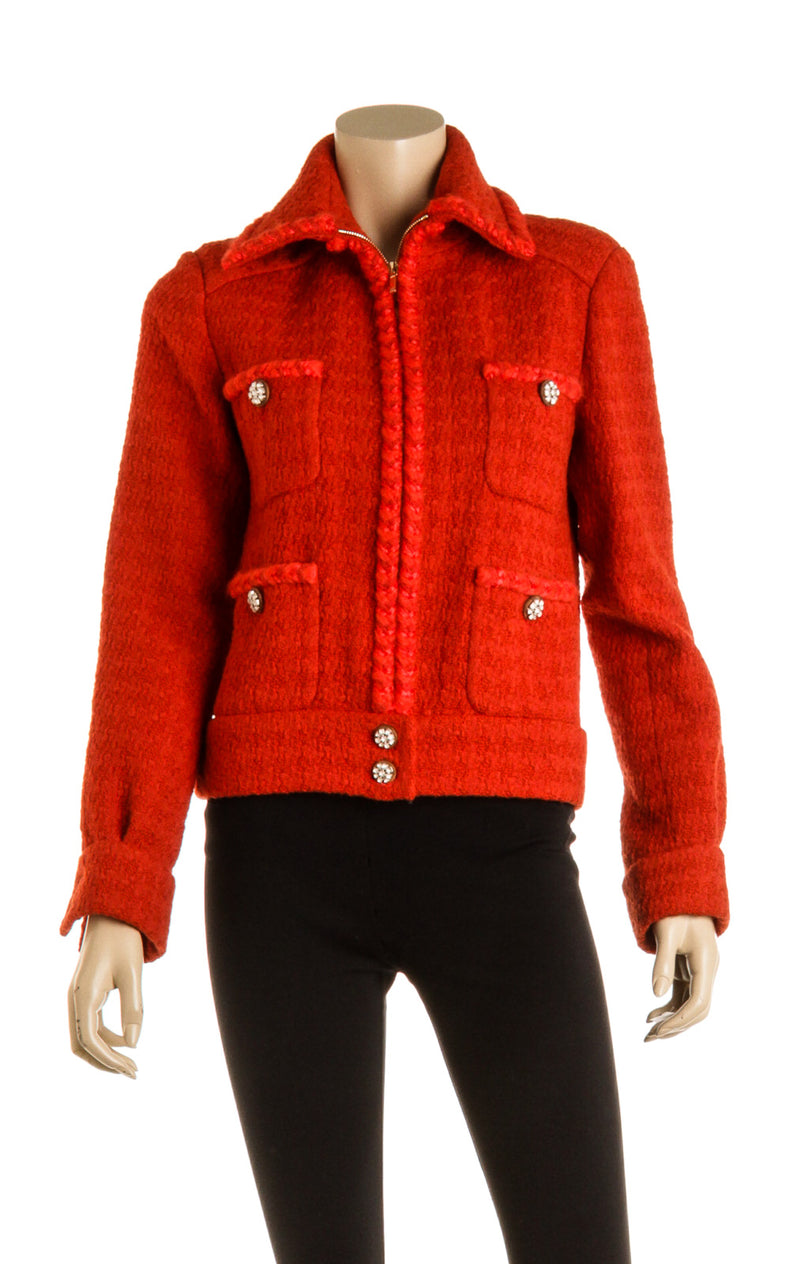 Chanel 2019 Orange Wool Tweed Jacket ( Size 34 )