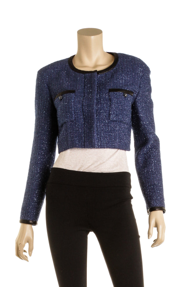 Chanel Blue Metallic Trim Jacket ( Size 36)