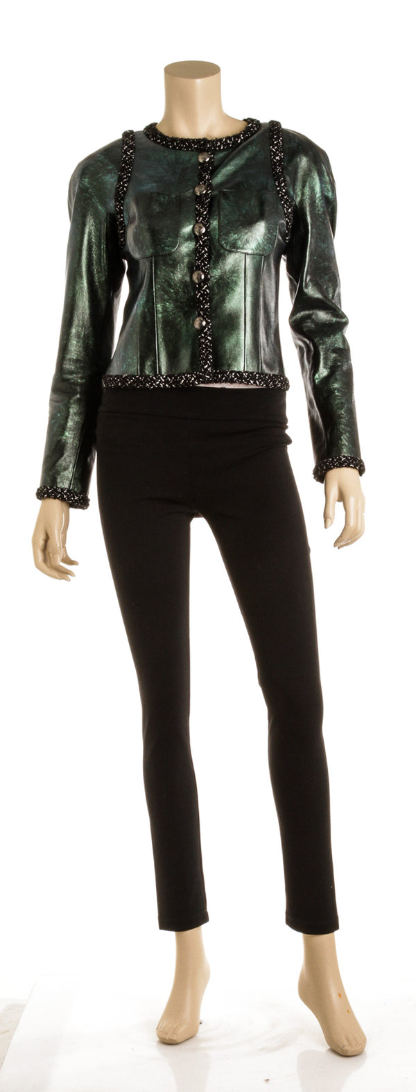 Chanel Green Leather & Tweed Jacket ( Size 36)