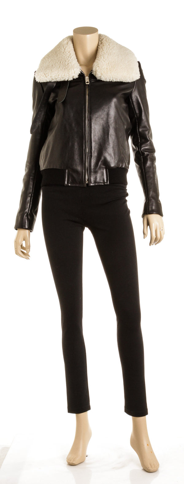 Balenciaga Black Leather Shearling Jacket ( Size 38)