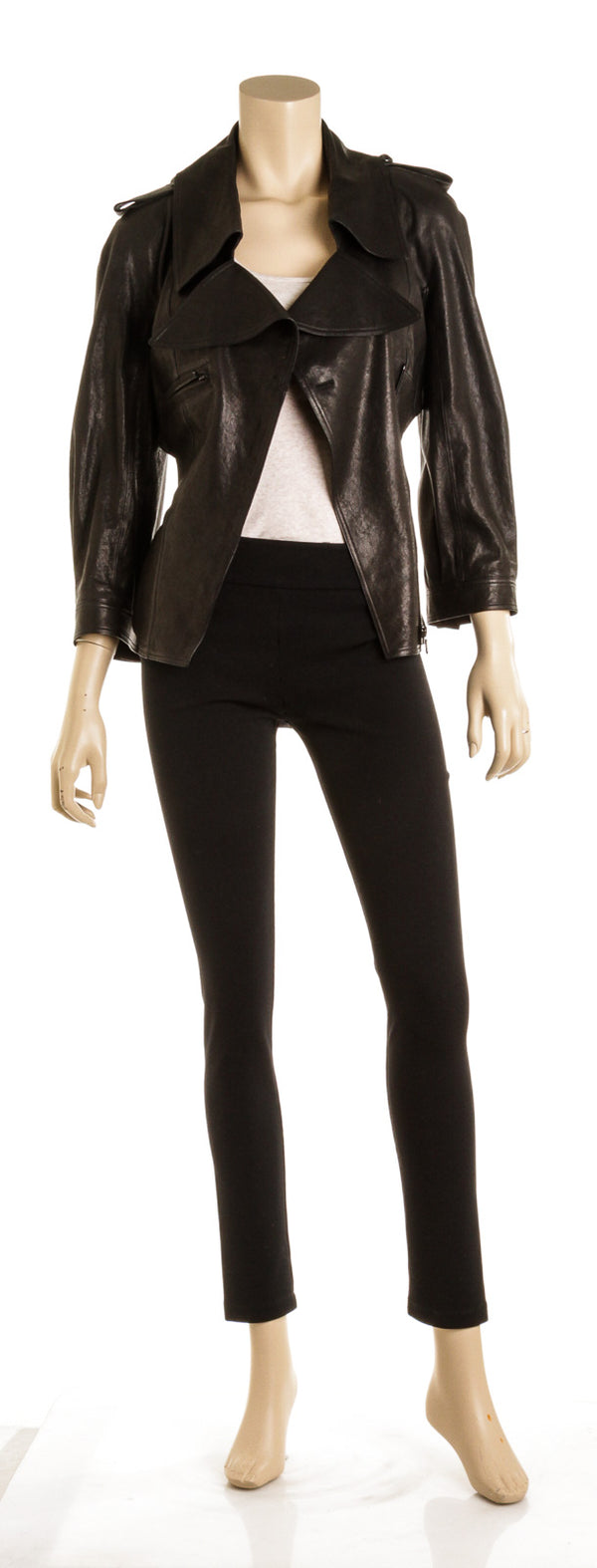 Chanel Black Leather Jacket ( Size 40 )