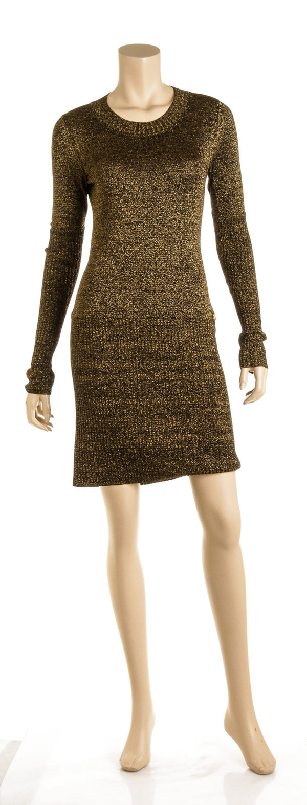 Chanel Gold & Black Metallic Knit Dress ( Size 36 )