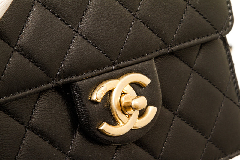 Chanel Black Lambskin Leather Chic Pearls Square Flap Handbag