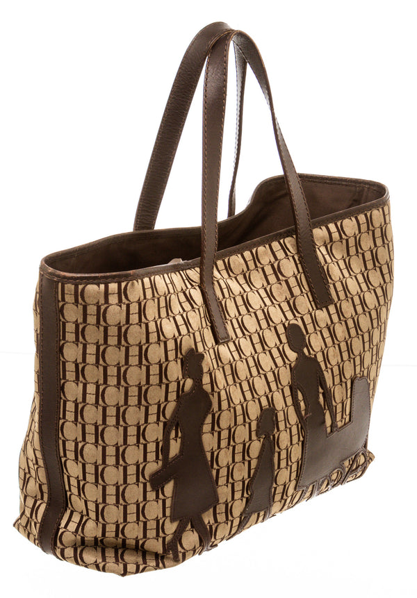 Carolina Herrera Brown Monogram Canvas Tote Bag