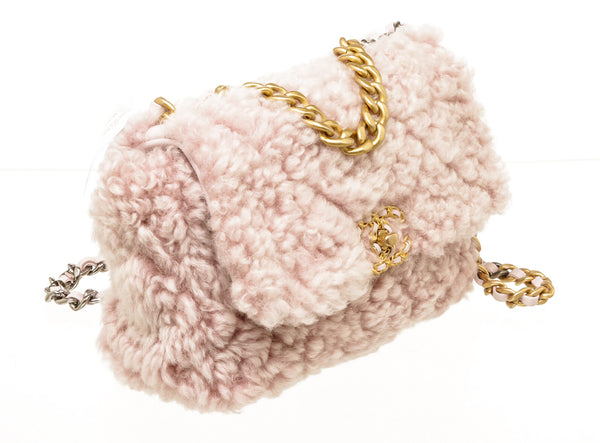 Chanel Pink Shearling 19 Flap Handbag