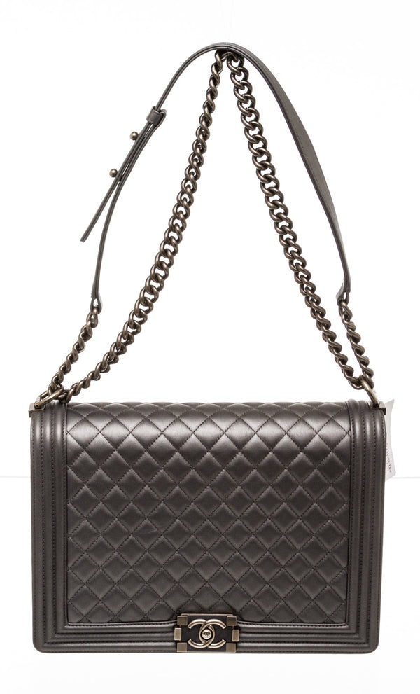 Chanel Metallic Gray Lambskin Large Boy Bag