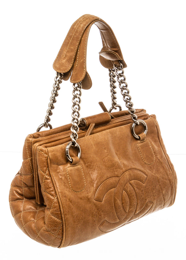 Chanel Brown Aged Calfskin Shopper Tote Bag