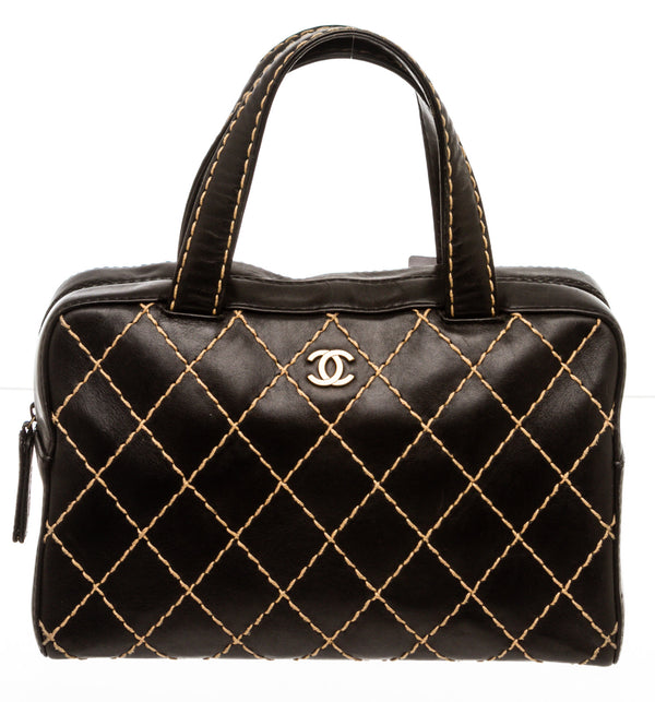 Chanel Black Calfskin Surpique Bowler Bag