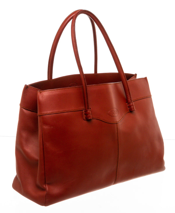 Tod's Red Leather Mocassino Tote Bag