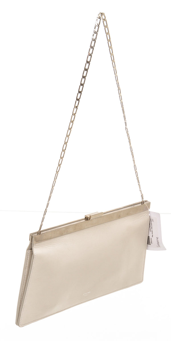 Celine Cream Calfskin Soft Clasp Bag