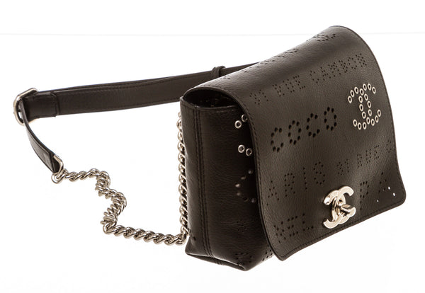 Chanel Black Perforated Leather Fanny Pack Waist Bag