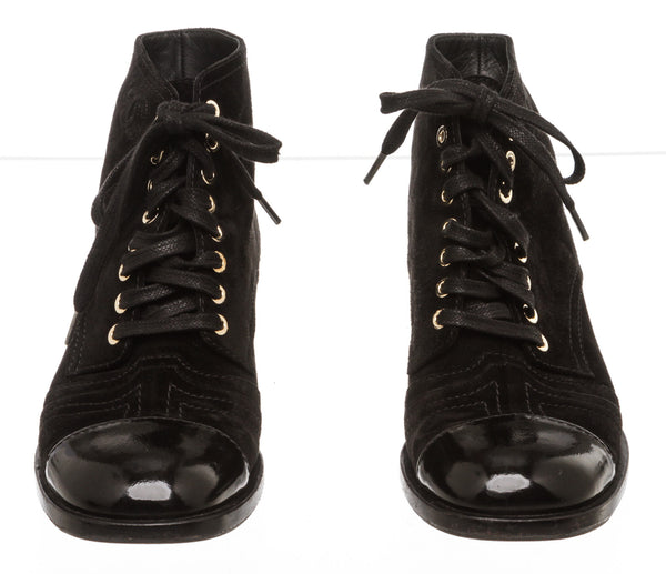 Chanel Black Suede Lace-Up Combat Boots (Size 37)