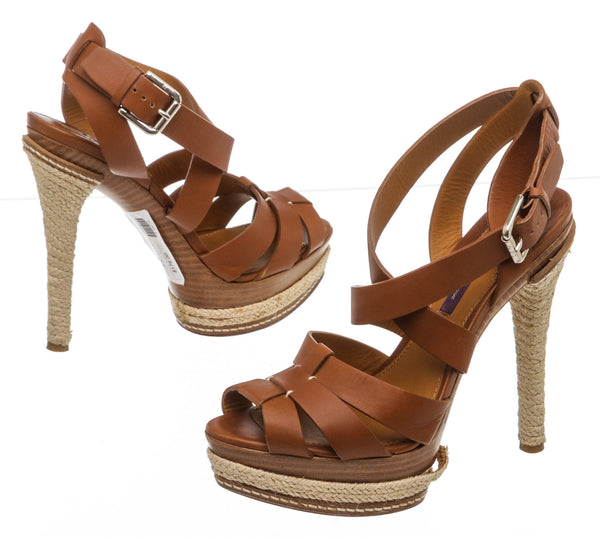 "Ralph Lauren Brown Leather ""Jenise"" Platform Sandals (Size 38)"