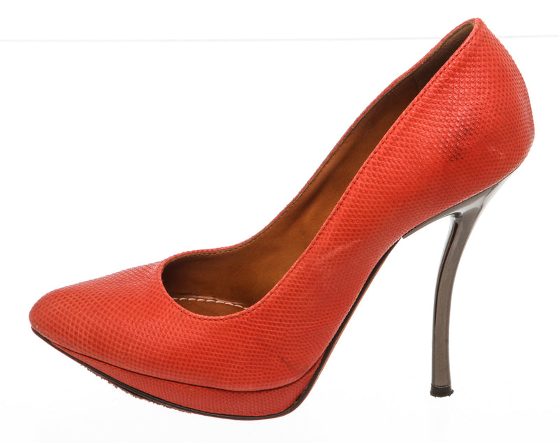 Lanvin Red Stamped Leather Pump (Size 37)