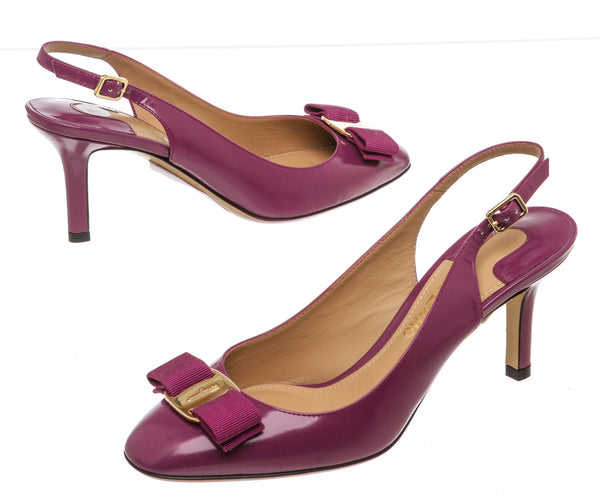 Salvatore Ferragamo Purple Leather Slingback Pump (Size 7)