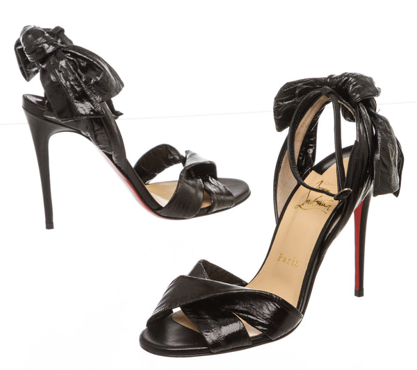 Christian Louboutin Black Coated-Eel Marylineska 100 Sandals (Size 37.5)
