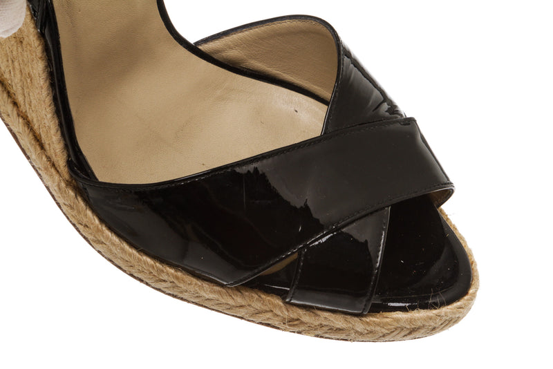 Christian Louboutin Black Patent Wedge Sandals (Size 39)