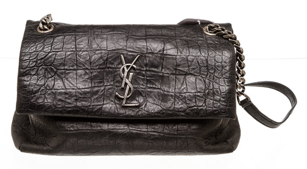 Saint Laurent Black West Hollywood Crocodile Embossed Leather Shoulder Bag
